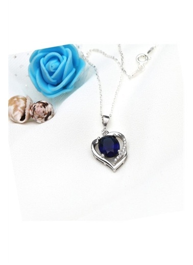 Enesstore Gümüş Safir Taşlı Kalbimin Yarısı Bayan Kolye Beyaz